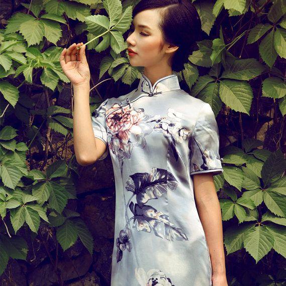 Artistic Pattern Silk Mandarin Dress Light Grey door AnnularRings, $309.00