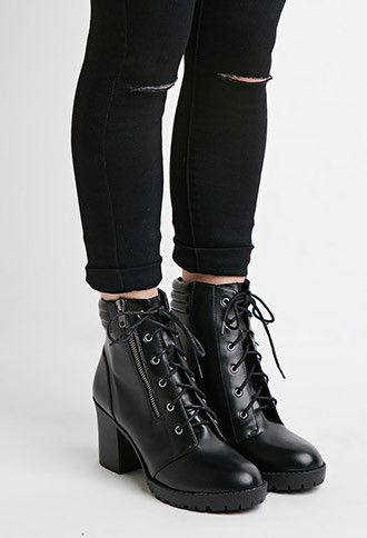 Faux Leather Combat Boots | Forever 21 - 2000179355 | STUFF I LIKE ...