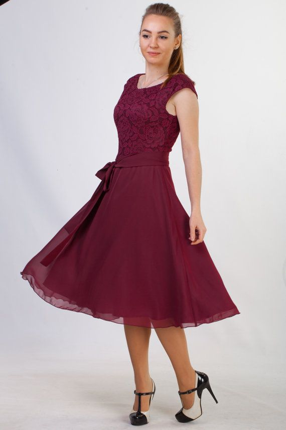 Short burgundy lace dress Short bridesmaid dress Short burgundy ...