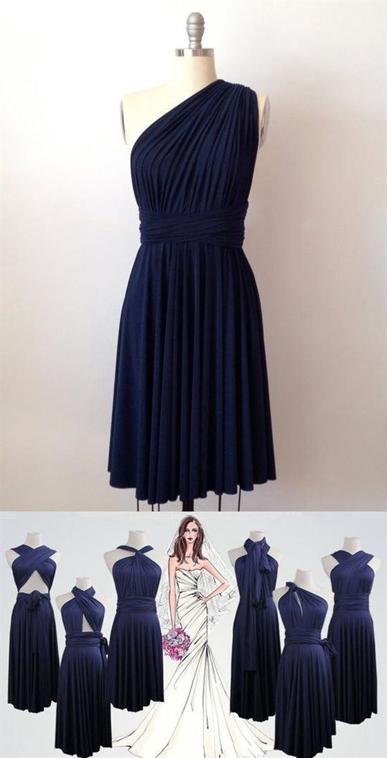 Navy Blue Short Infinity Dresses,Convertable Dress,Multiway Bridesmaid Dress #navyblueshortdress