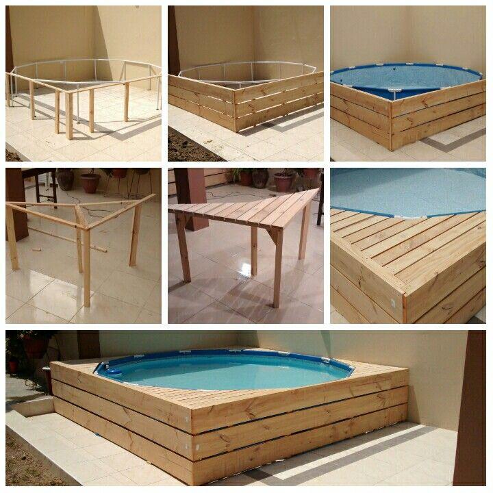 Piscina de lona y estructura de madera pool deck above - Piscinas tubulares alcampo ...