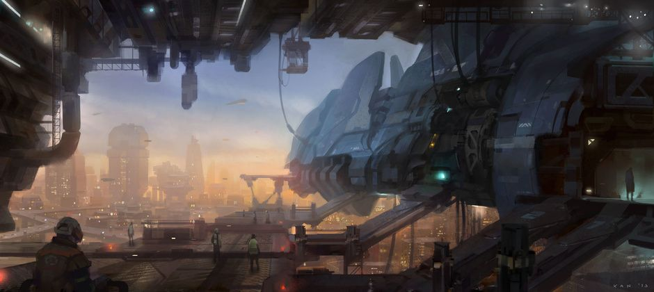 Docking Bay By Kan Muftic Sci Fi 2d Cgsociety Concept Art World Concept Art Art