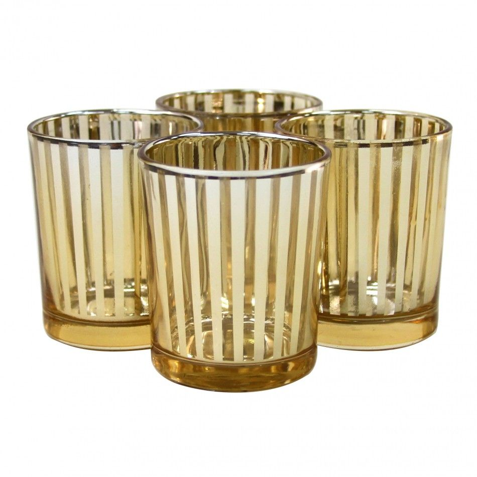 striped votive candle holders 3 gold 424480 wholesale wedding supplies discount wedding. Black Bedroom Furniture Sets. Home Design Ideas