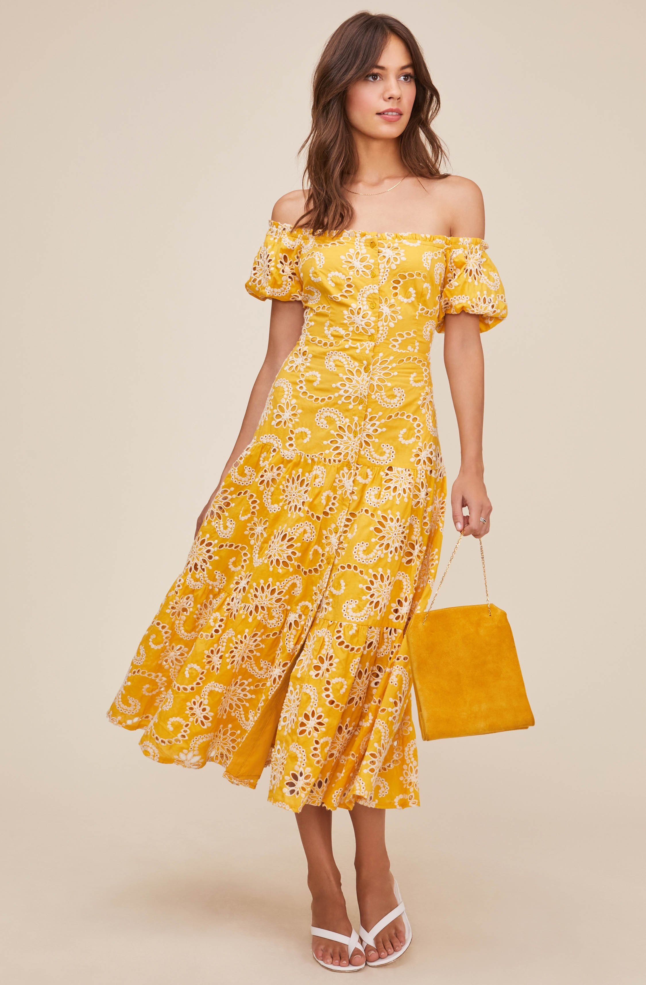 Off Shoulder Dresses And Eyelet Dress Styles Are Summer Staples Shop Midi Dresses At Astr Midi Dress Dresses Select Dress [ 3432 x 2250 Pixel ]