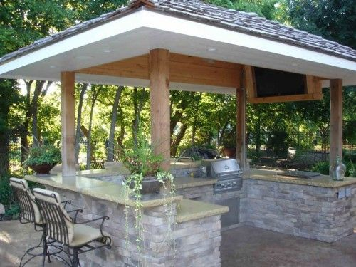 Pergola Small Outdoor Kitchen Designs With  Backyard