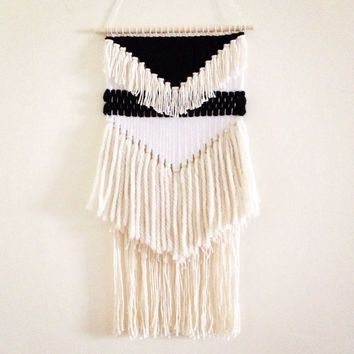 Woven Tapestry Wall Hangings weaving wall hanging / dreamcatcher weaving : black and white