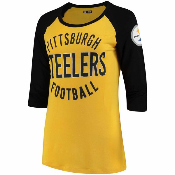 65154097207 Pittsburgh Steelers 5th & Ocean by New Era Women's Novelty 3/4-Sleeve Scoop  Neck T-Shirt - Gold/Black - $37.99