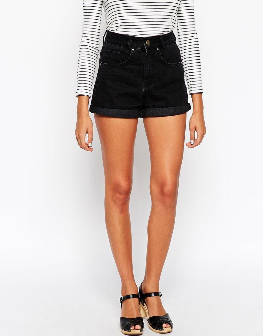 Image 4 of ASOS TALL High Waist Denim Mom Shorts in Black | Tall ...