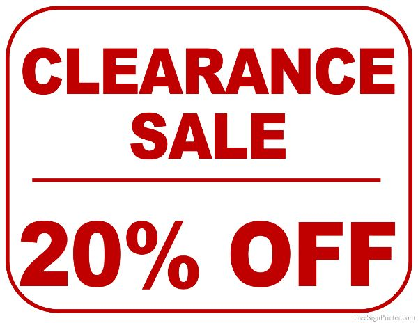 Printable 20 Percent Off Clearance Sale Sign Bakery Pinterest - free for sale signs for cars
