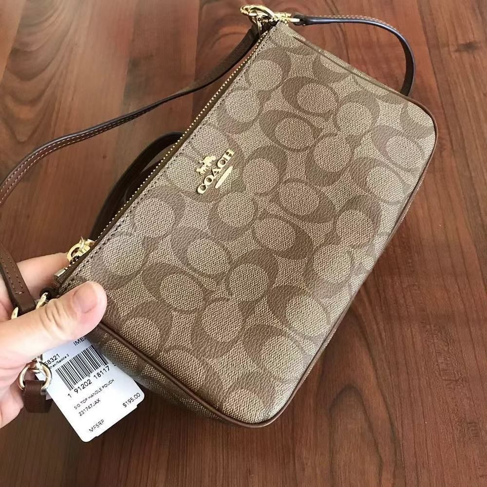 Pin on See more Coach 58321 MESSICO Top Handle Pouch Signature...