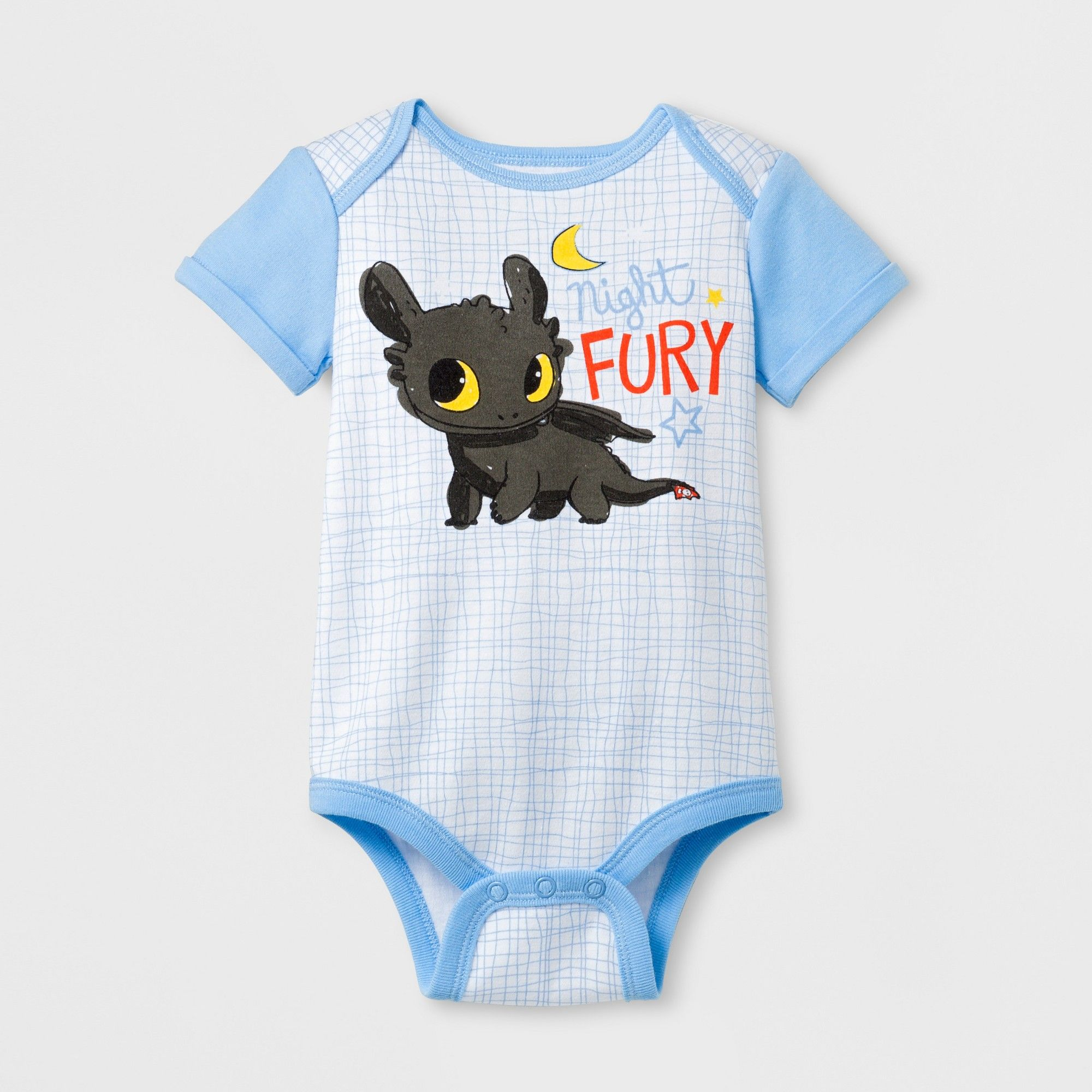 7026d72c9 DreamWorks Baby How to Train Your Dragon Night Fury Short Sleeve Bodysuit -  Light Blue 0-3M, Infant Boy's, Size: 0-3 Months