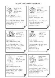 english worksheet speaking cards personal information proyectos que intentar pinterest. Black Bedroom Furniture Sets. Home Design Ideas