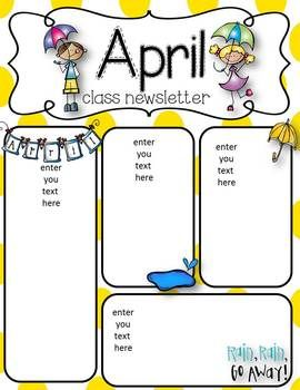 April Newsletters Freebie Preschool Newsletter Templates