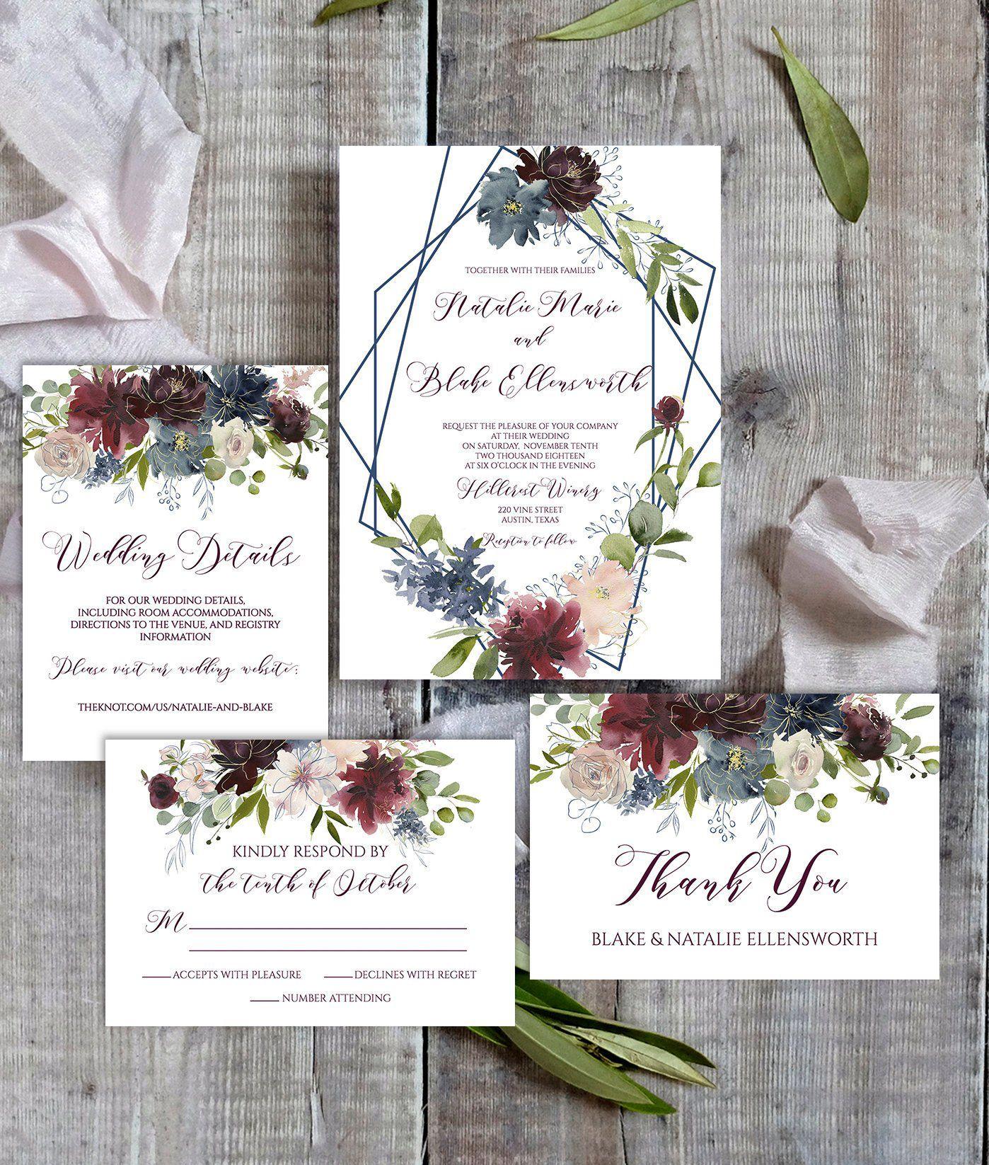 Printable Wedding Invitation Template Wedding Invitation Etsy Etsy Wedding Invitations Cheap Wedding Invitations Printable Wedding Invitations