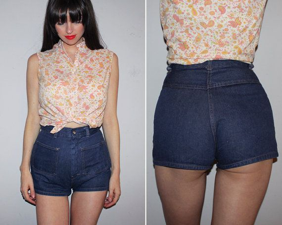 RARE Vintage 70s HIGH WAISTED Denim Shorts / By