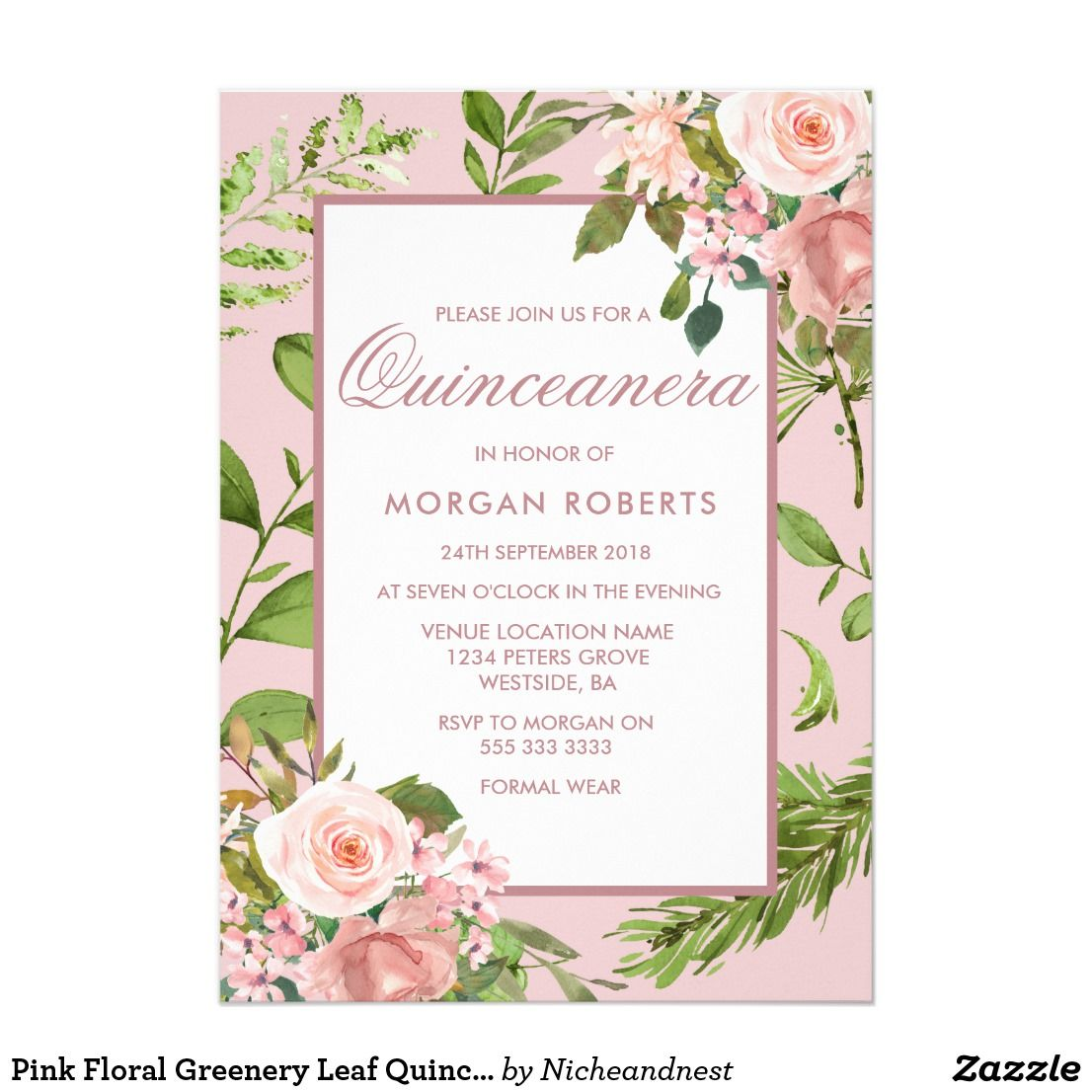 Pink floral greenery leaf quinceanera invitation in loving memory