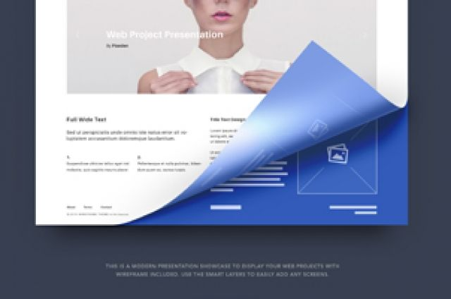 This is an original web project presentation psd screen with a - project presentation