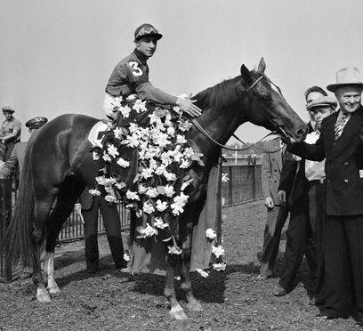 WHIRLAWAY 8X10 PHOTO HORSE RACING PICTURE JOCKEY EDDIE ARCARO