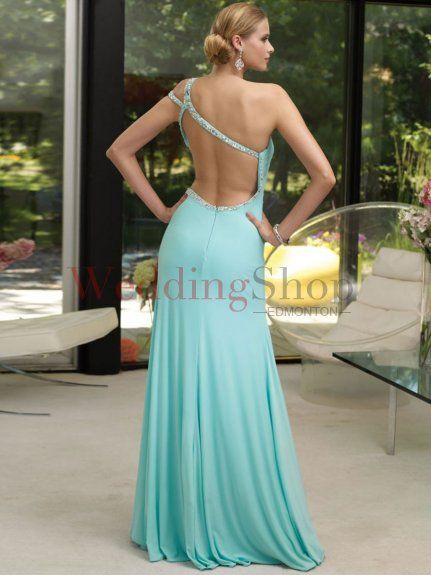 A Line One Shoulder Floor Length Chiffon Evening Homecoming Dress