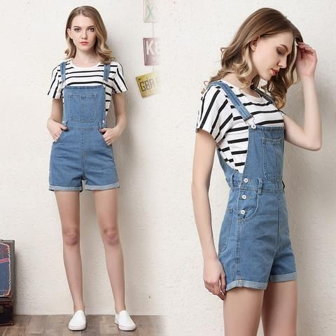 cae6241421e Short denim overalls women jumpsuit romper high waist casual fashion jeans  playsuit washed blue dungarees 2018 summer clothing
