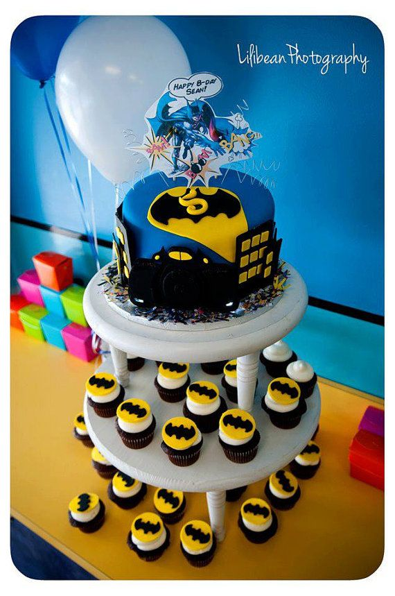 14 Batman Edible Cupcake Toppers With Images Boy Birthday Cake