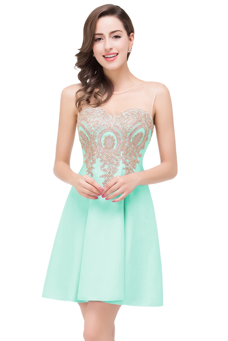 AA| Chicloth A-Line Sleeveless Chiffon Short Prom Dresses With Appliques,#promdressuk,#quinceaneradress,#champagne,#tulle,#lace,#cheap,#ballgown #chiffonshorts