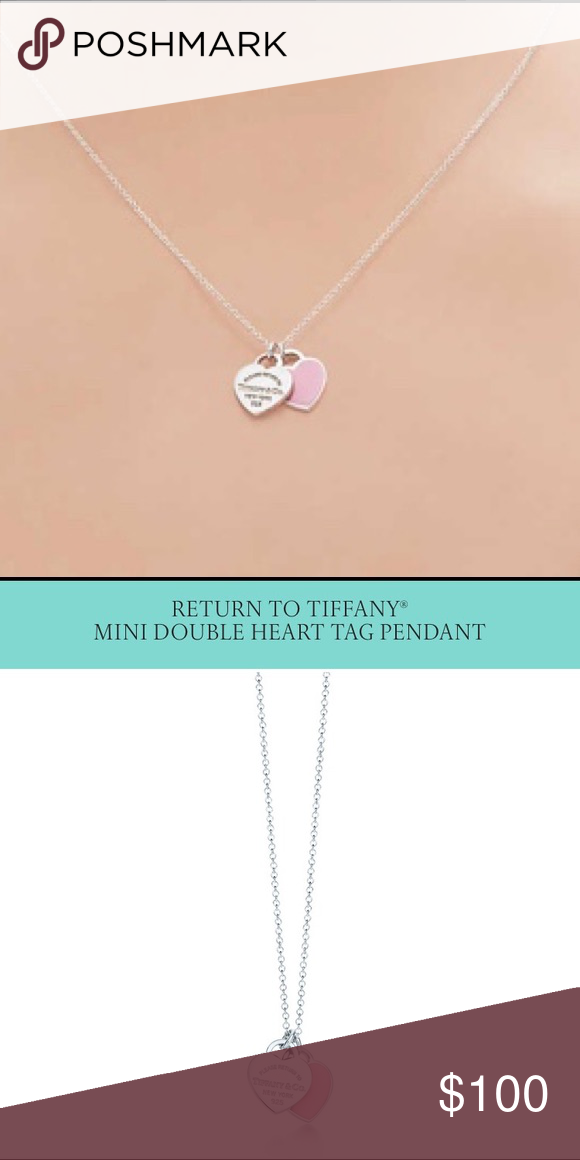 Authentic Tiffany Co Double Heart Necklace Excellent Excellent Previously Worn 16 Tiffany Necklace D Double Heart Necklace Tiffany Necklace Heart Necklace
