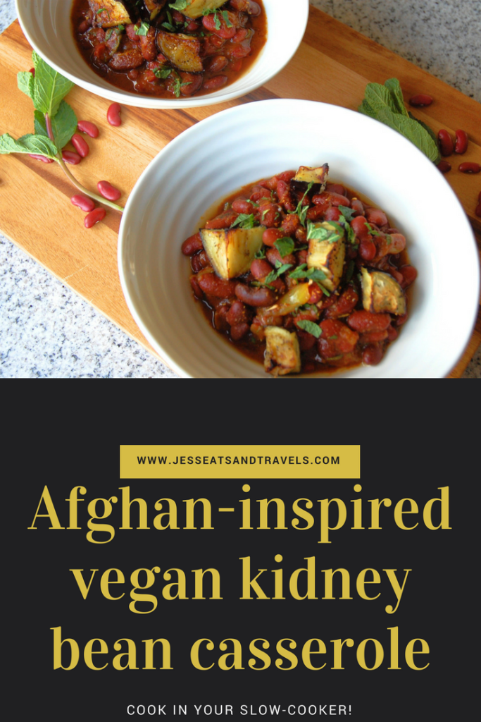 Afghan Inspired Vegan Kidney Bean Slow Cooker Casserole