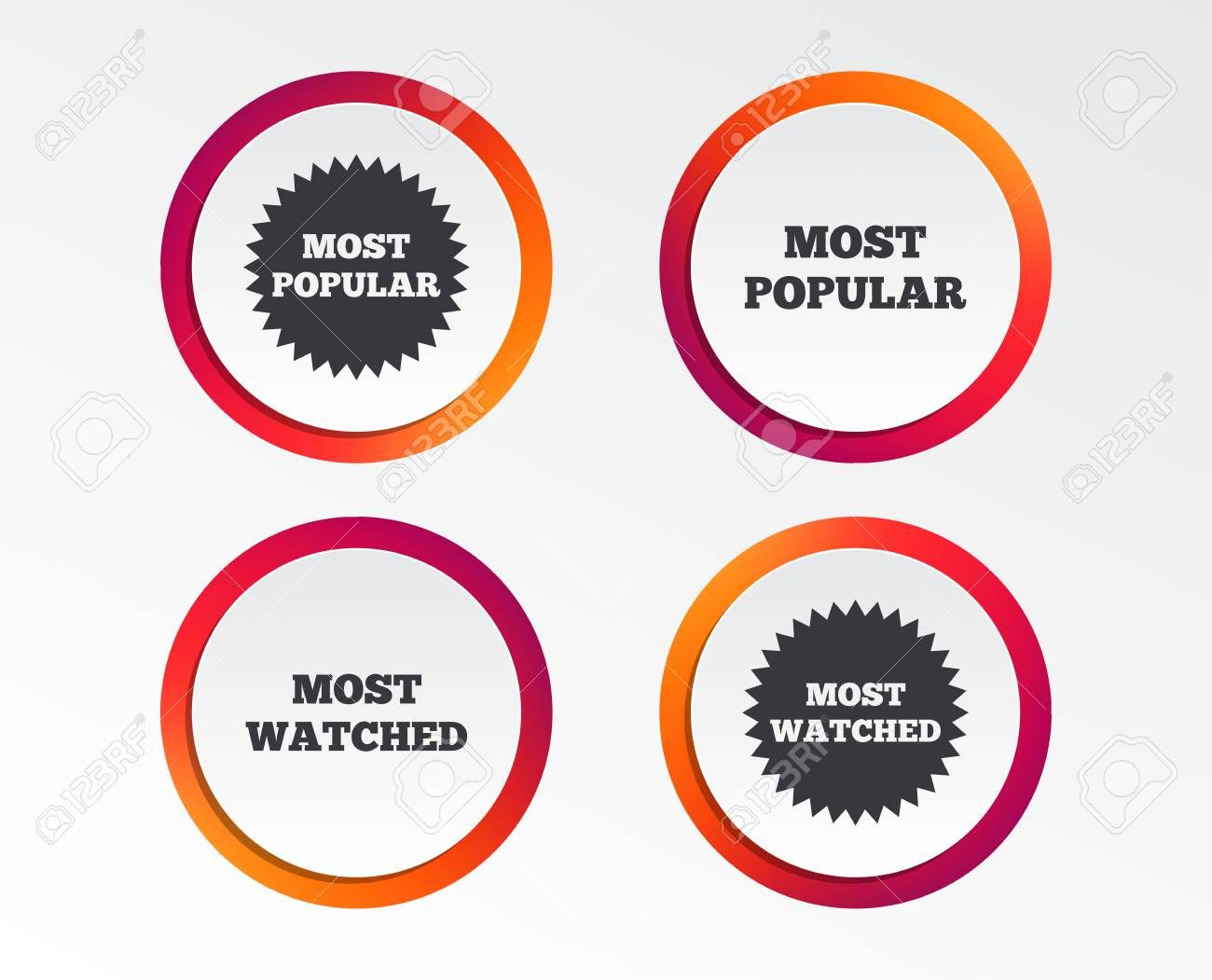Most Popular Star Icon Most Watched Symbols Clients Or Users Choice Signs Infographic Design Buttons Circle Templates Vector Circle Template Cool Watches