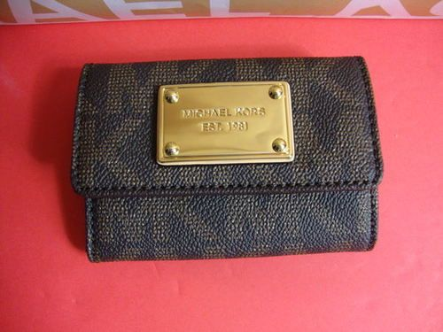 8b14c74dced1 New Michael Kors Brown Signature Flap Coin Purse Mini Wallet