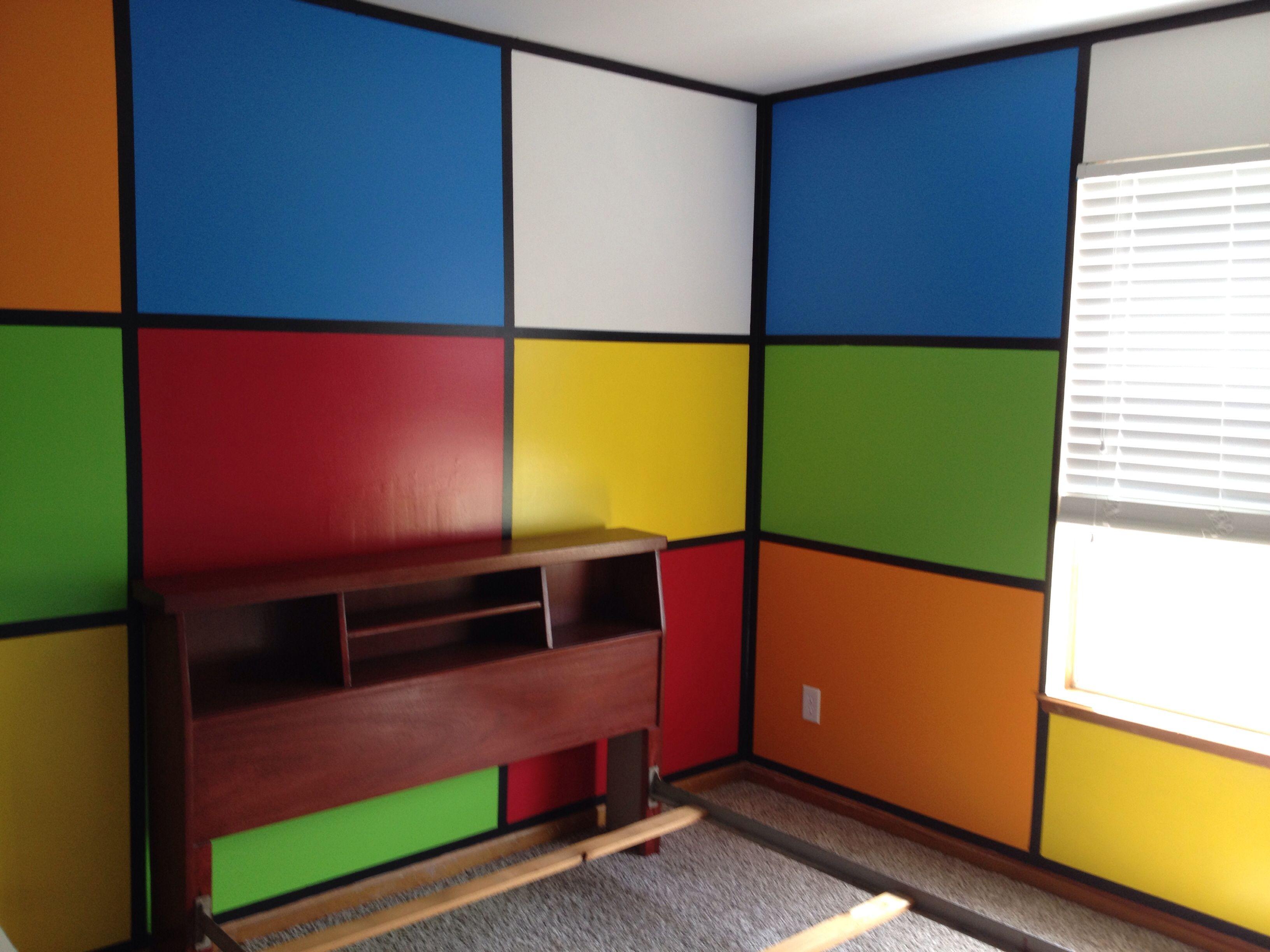 Rubik S Cube Bedroom Lots Of Work But Was Worth It Bedroom Images Boys Bedrooms New Room