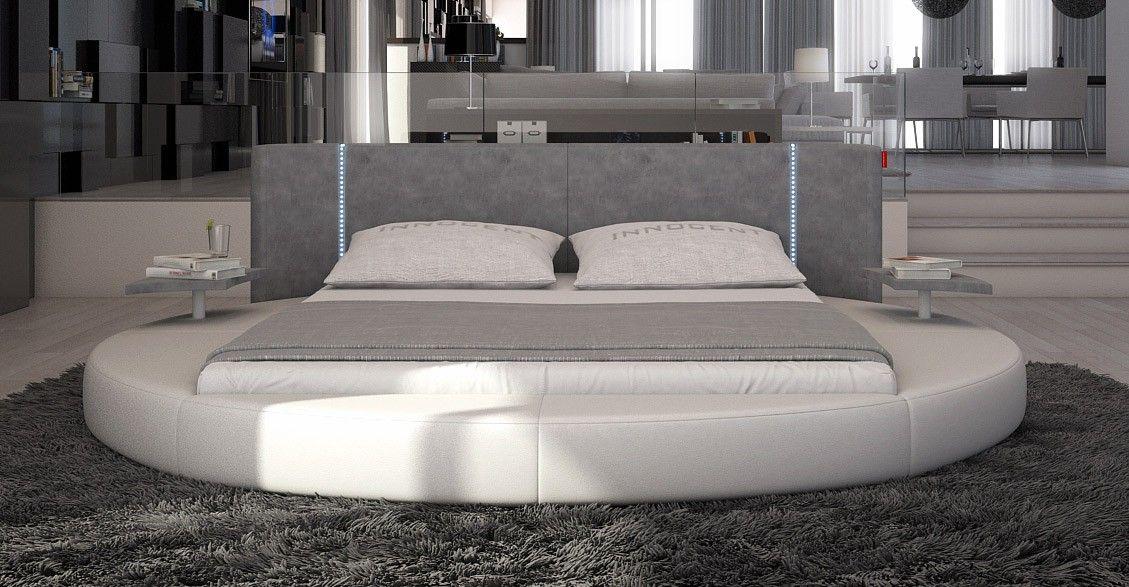 Rotondo Modern EcoLeather Round Bed w/ LED Lights