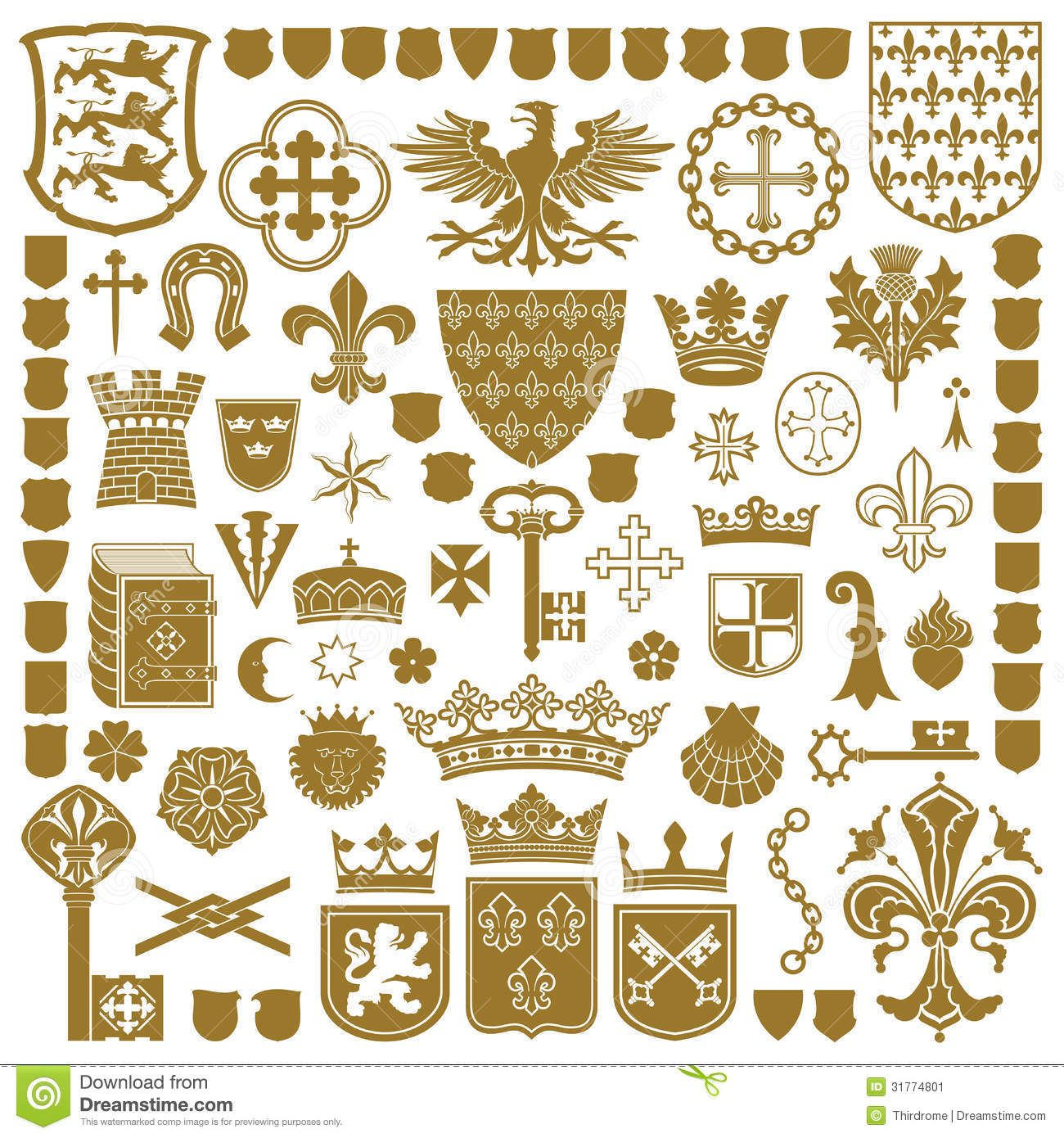 Raster version of vector set of gold heraldic symbols contain the raster version of vector set of gold heraldic symbols contain the clipping path there buycottarizona Gallery