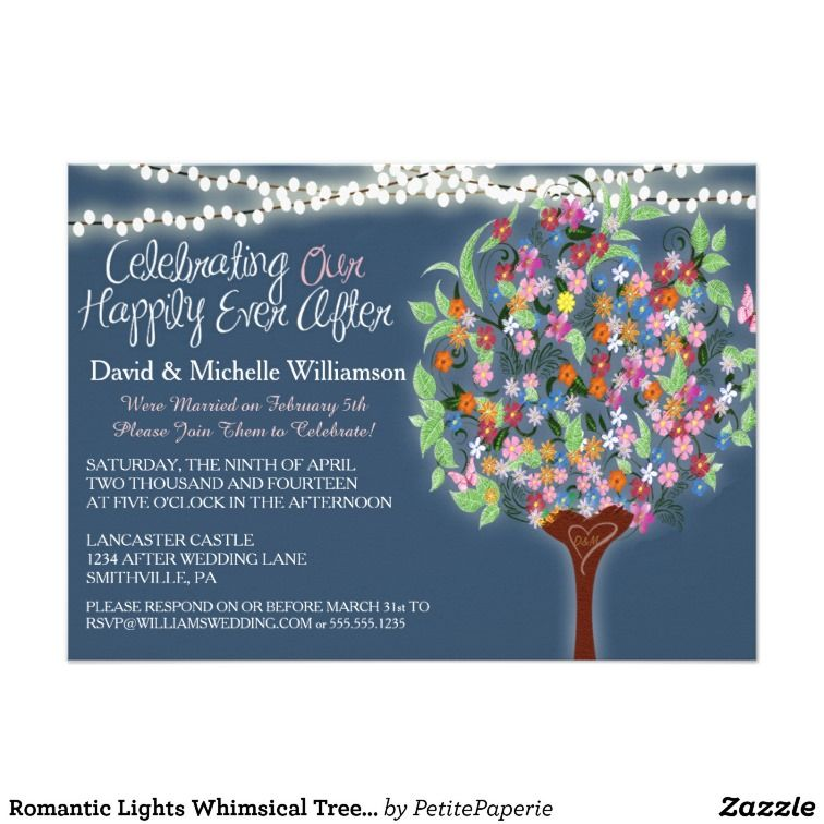 This Romantic Lights Whimsical Tree Post Wedding Invite Is