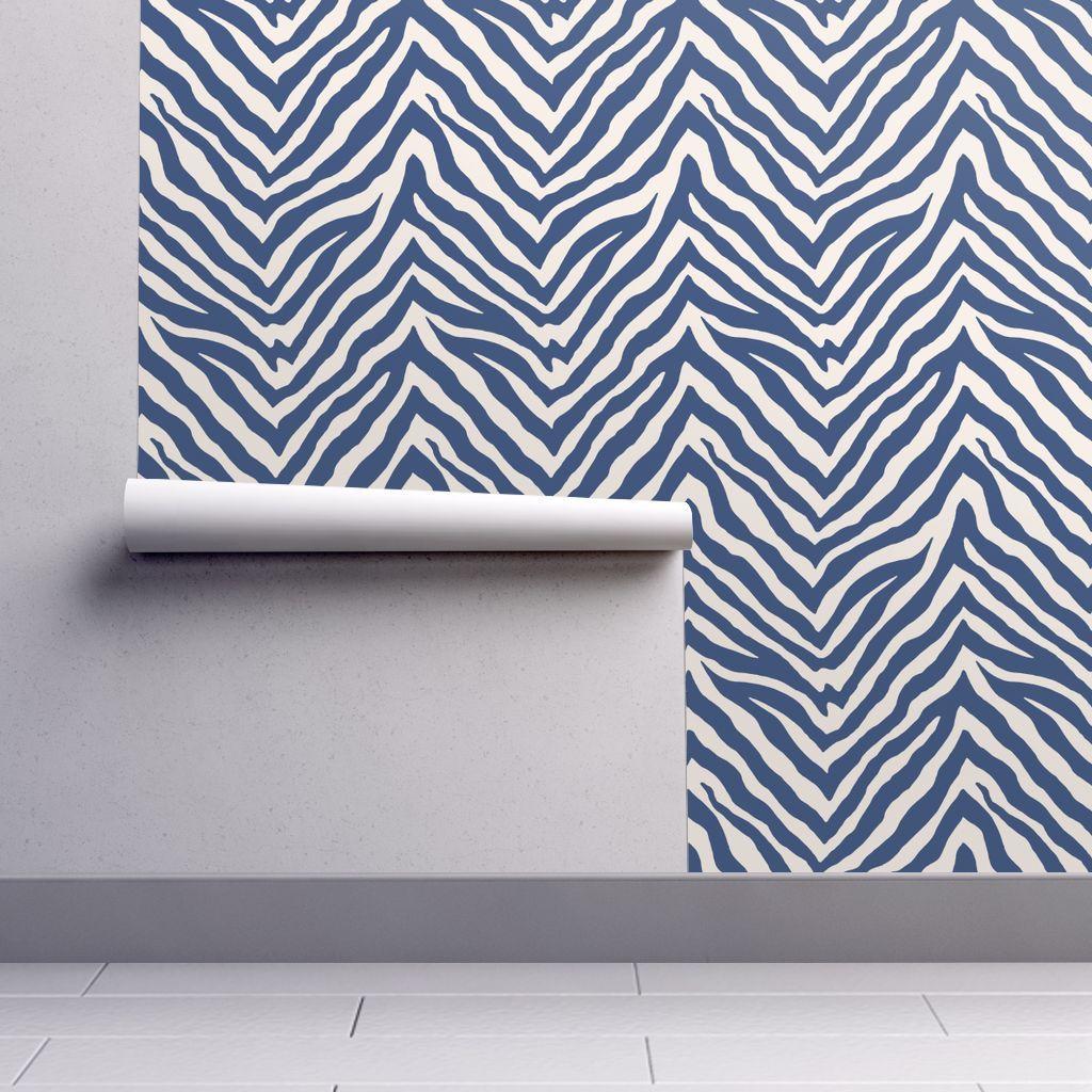 Zebra In Navy Zebra Striped Wallpaper Self Adhesive Wallpaper Peel And Stick Wallpaper