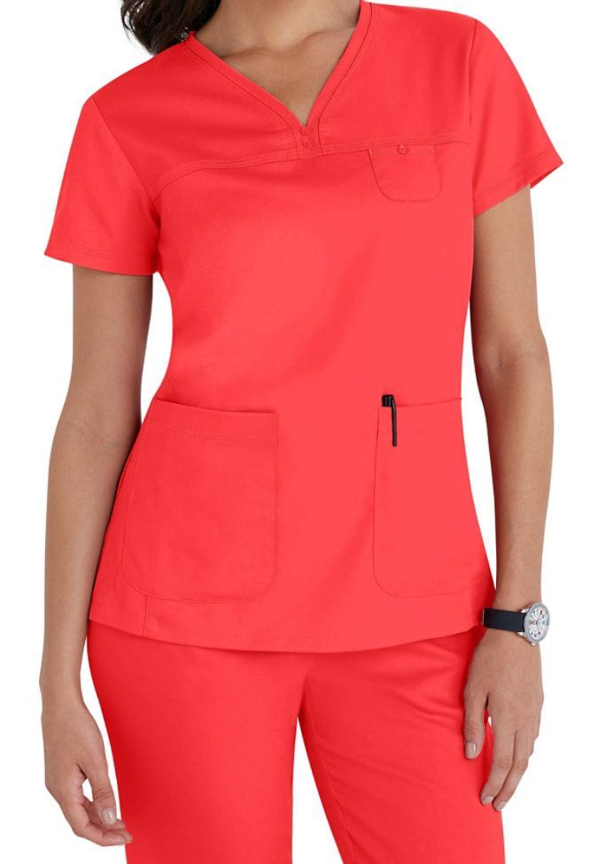 91486a8fbfc Grey's Anatomy 3 Pocket V Neck Tonal Stitch - Papaya | Grays anatomy ...