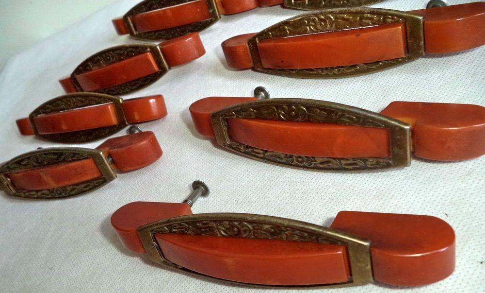 Lot 8 Rare Art Deco Bakelite Amber Bronze Antique Cabinet Drawer