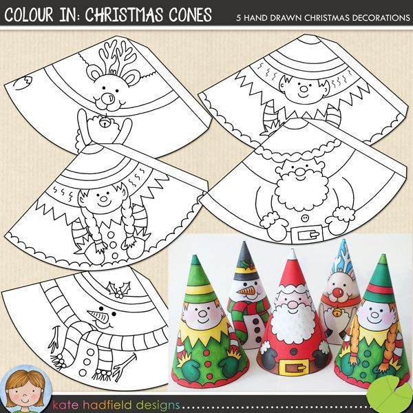 Colour in christmas cones paper santa snowman reindeer for Colour paper craft