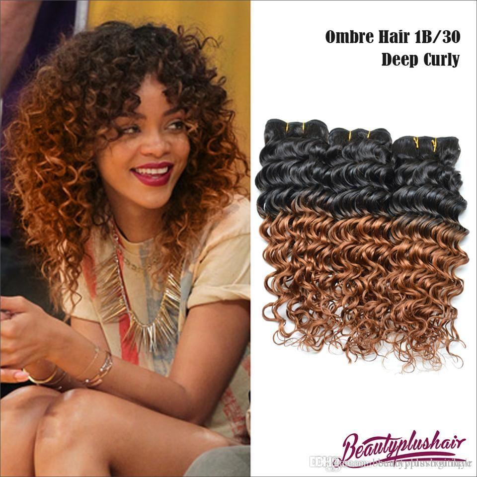 300g Ombre Brazilian Hair Extensions Deep Curly 8a Brazilian Human
