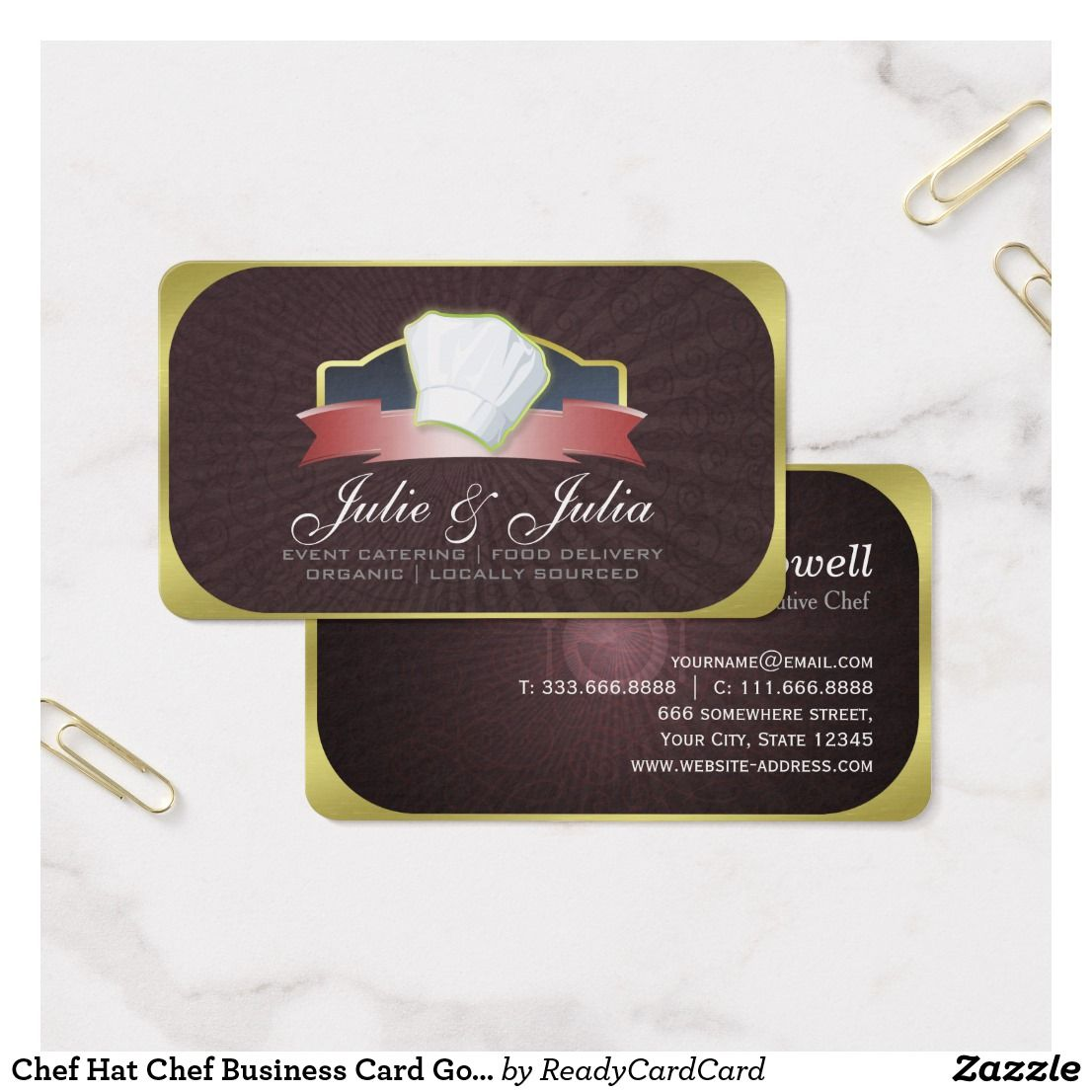 Chef hat chef business card gold and red ribbon chef business chef hat chef business card gold and red ribbon reheart Image collections