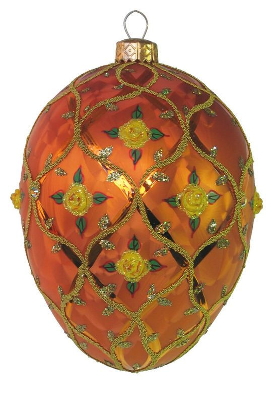 Edward Bar Orange Rose Egg glass Christmas ornament
