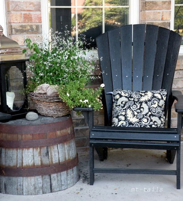 Love This Barrel Planter Flipped Upside Down As An Outdoor Side Table Lowes Has These Old Whiskey Barrels Front Porch Decorating Patio Decor Porch Decorating