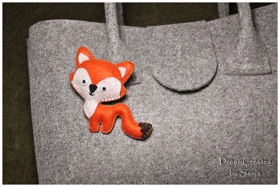 Sweet orange fox, felt brooch, felt accessories, felt broach, sweet funny fox brooch, animal brooch, fox brooc...