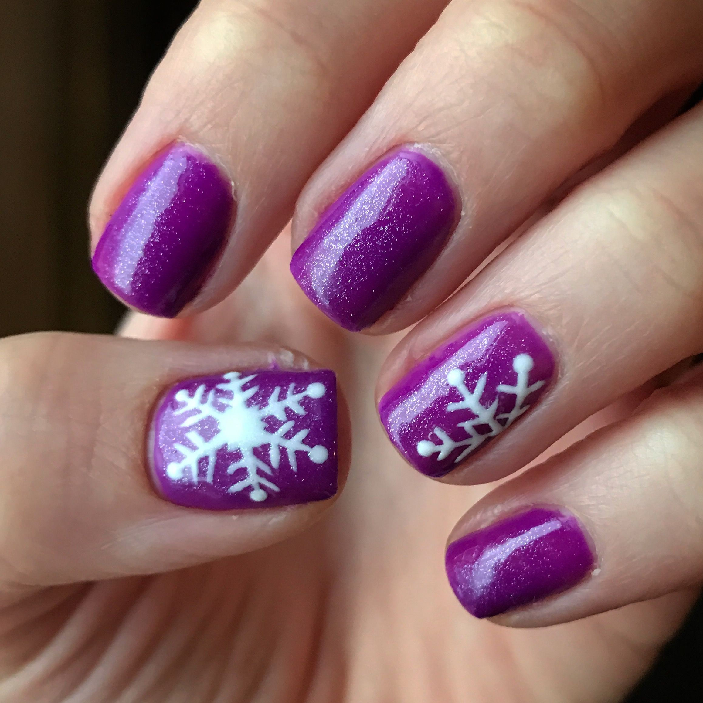 My purple winter nails with snowflakes! Shellac nail design