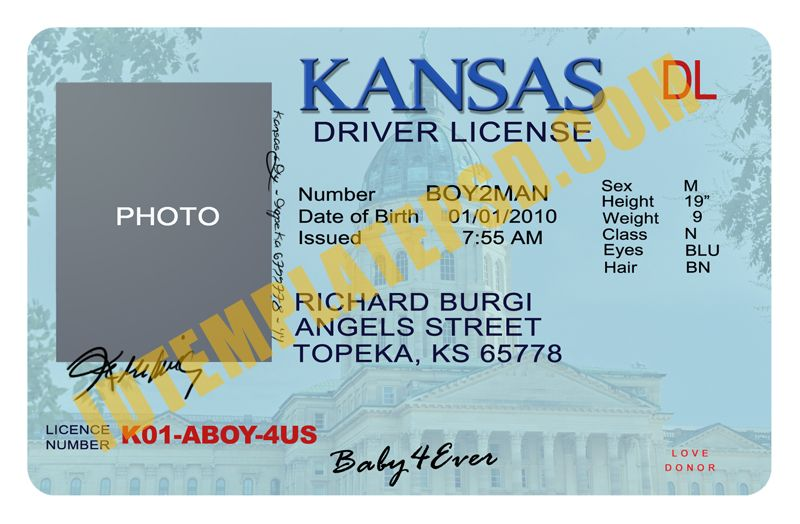 This Is Kansas Usa State Drivers License Psd Photoshop