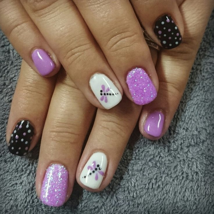 Purple Black And White Nails With Dragonfly Nail Art Uas