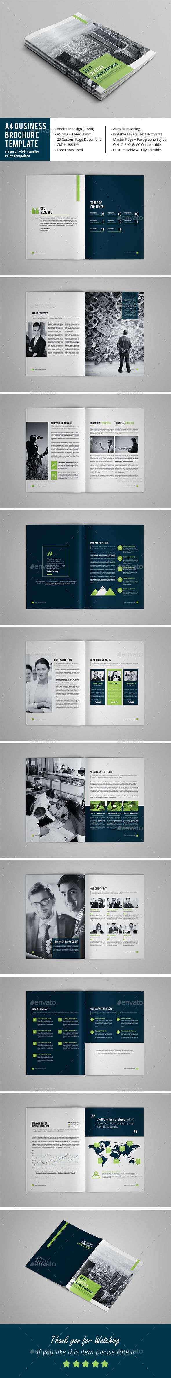 A4 Business Brochure Template | Diseño editorial, Editorial y Diseño ...