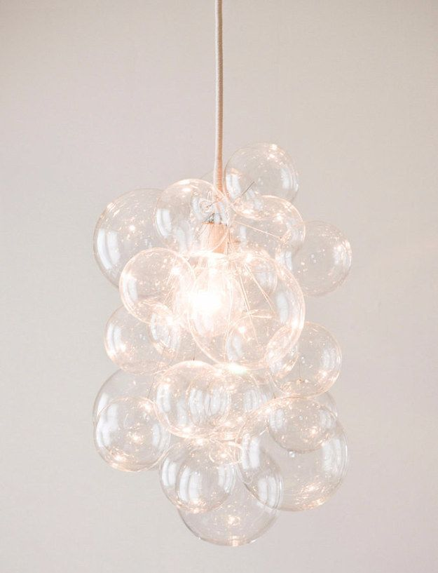 amazing Chandelier Teenage Bedroom Part - 13: Bubble balls, fishing line, silver wire and ceiling hooks are all you need  to build a bubble chandelier.
