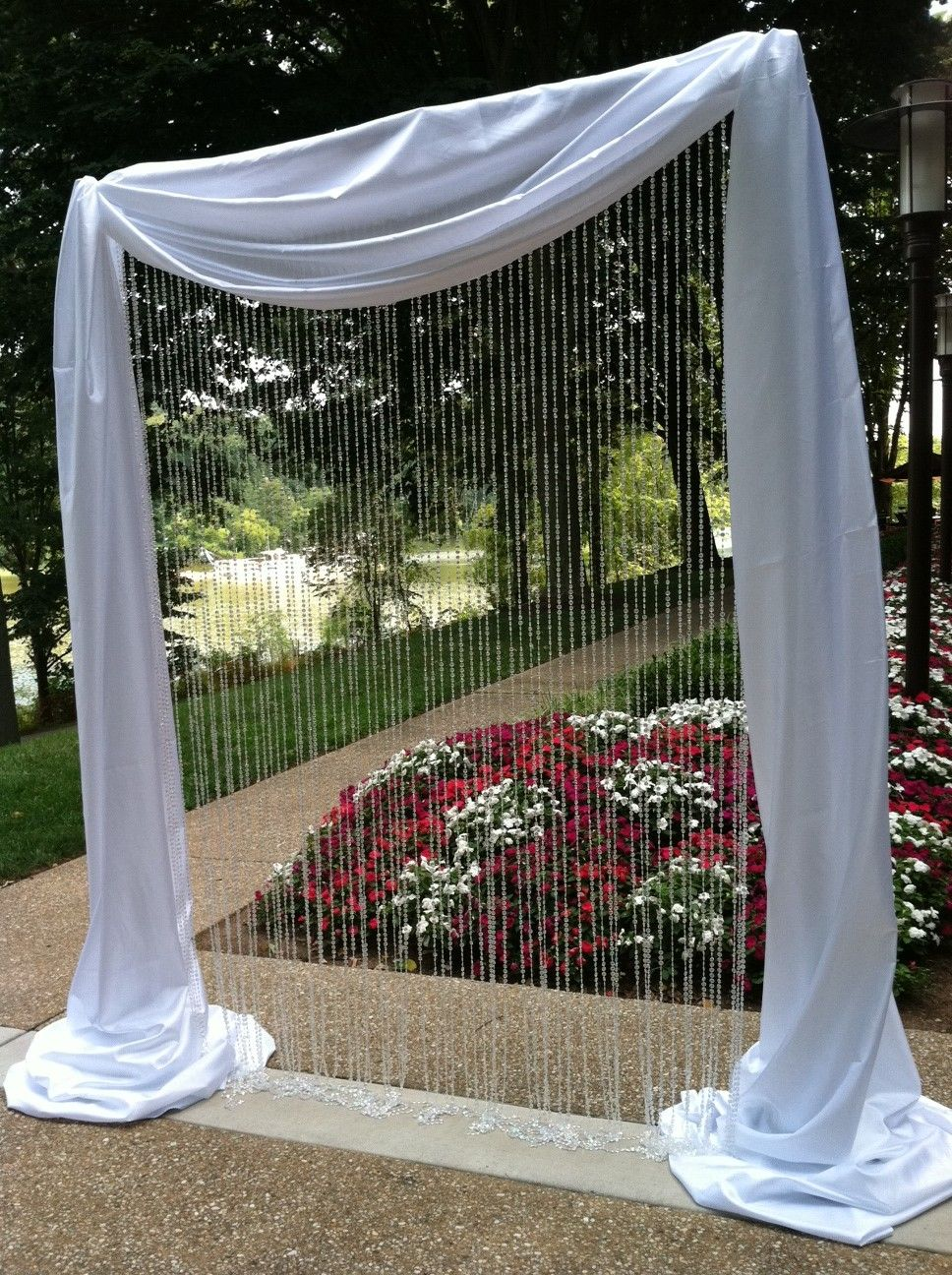 Pipe and drape arch without the hanging crystals for Arch decoration ideas