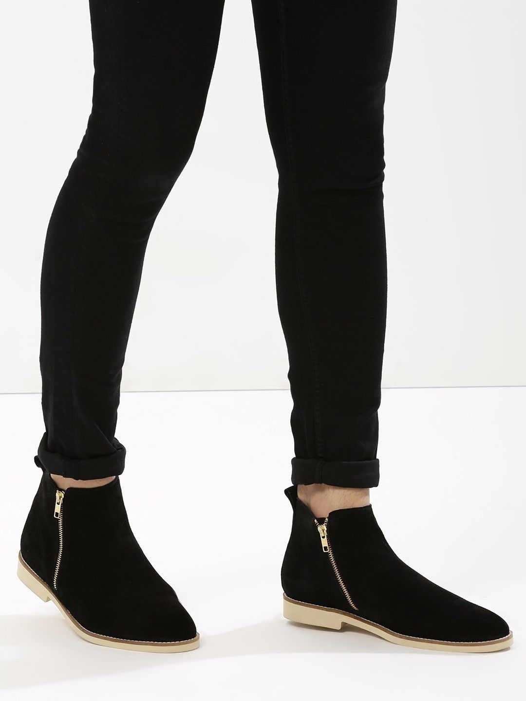 0f4b21b93 Buy Chelsea Boots in Genuine Suede Leather with Side Zipper For Men - Men s  Black Boots Online in India